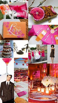 Bright fuchsia, cheerful orange, and dramatic chocolate brown will make for a wedding that is vibrant, fun, and romantic