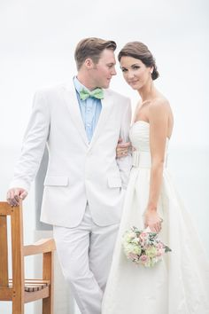 Summer Bride & Groom -- See more on Style Me Pretty -- http://www.StyleMePretty.com/southeast-weddings/2014/02/11/preppy-key-west-beach-wedding/ 1313 Photography