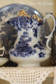 beautiful Flow-Blue pitcher