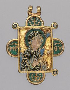 """Double-Sided Pendant Icon with the Virgin and Christ Pantokrator, ca. 1080–1120  Byzantine; Made in Constantinople  Inscribed in Greek initials: Mother of God (front); Jesus Christ, King of Glory (back)  Cloisonné enamel, gold"""