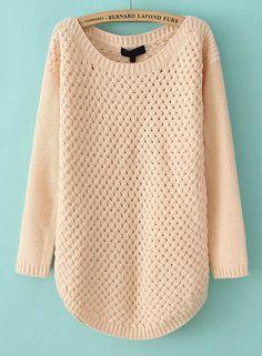 Pink Long Sleeve Hollow Kint Pullover Sweater - Sheinside.com