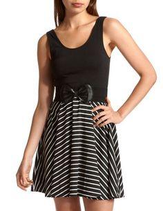 Belted 2-Fer Stripe Dress