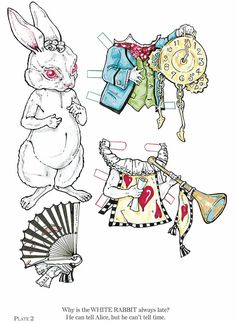 """white rabbit with red queen court costume, regular outfit & fan!  *from """"Alice in Wonderland Paper Dolls: Through an All New Looking Glass"""""""