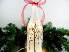 Lighted Wine Bottle Frosted Birch Trees Cardinals Hand Painted Winter Snow Scene 750ml