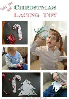 DIY Christmas lacing toys using paper plates