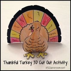 Thankful Turkey 3D Cut Out Art Activity for Thanksgiving