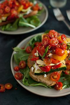Stacked Tomato, Summer Vegetable and Grilled Bread Salad....