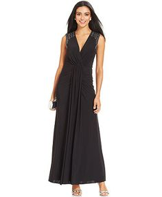 Xscape Embellished Cutout Ruched Gown $209 at Macy's