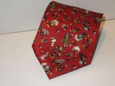 Boss-Hugo-Boss-all-silk-red-tie-flowers-and-animals
