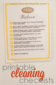 Printable cleaning checklists for the main rooms in the house. Helpful to break it down for kids when they aren't sure what cleaning a specific room entails.