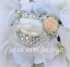 Baby Bling Rhinestone Pacifier Paci Binky Baptism by BeccaRooni, $24.00