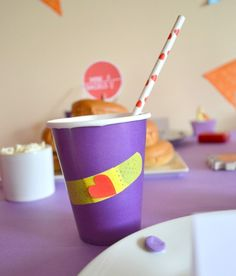 Doc Mc Stuffins Birthday Party drinks!  See more party ideas at CatchMyParty.com!