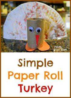 This simple Paper Roll Turkey uses supplies you probably already have at home. Would be great to keep the kids busy as you make Thanksgiving dinner.