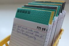 Index Card Journal (perfect for tracking baby's first year- just jot down a line or two every day.)  What a great baby shower gift.