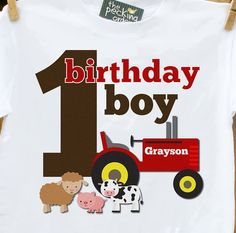 Shirt.. Tractor needs to be green, but perfect for eastens birthday ;) tractor birthday, birthday shirts, birthday boys, birthday parties, 1st bday, 1st birthdays, parti idea, 1st birthday farm theme, 1st birthday boy farm theme