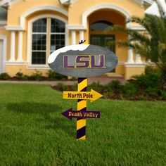 LSU Tigers Wooden North Pole Sign - Purple/Gold
