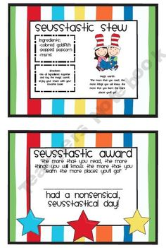 Dr. Seuss Recipe and Reading Award