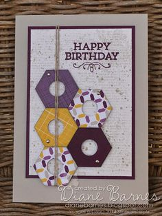 Stampin Up hexagon punch nut cards Father's Day - masculine card. By Di Barnes colourmehappy 3 cards in post