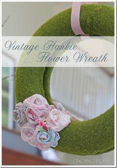 vintagehankieflowerwreath thumb Spring Wreath Idea