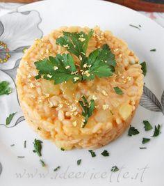 Risotto con patate, Castelmagno Alpeggio DOP Occelli e briciole d'oro alimentari.. ricetta povera in versione ricca!