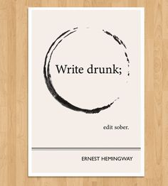 Illustrated Ernest Hemingway Quote Print