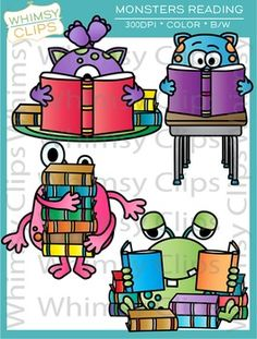 The Monsters Reading clip art set contains 16 image files, which includes 8 color images and 8 black & white images in png and jpg. All images are 300dpi for better scaling and printing. $