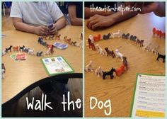 Walk the Dog {great game to work on math skills & peer social skills} by theautismhelper.com