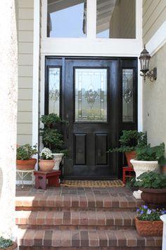 Black Exterior Door Design Ideas, Would need to paint bars between door and side lights on our new door.  Pictures, Remodel, and Decor