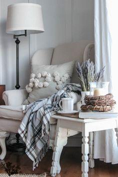 Living Room Reading Corner at The Wood Grain Cottage