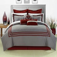 Cosmo Red Queen 8 Piece Embroidered Comforter Bed In A Bag Set