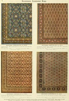 Examples of Brentmore Axminster Rugs from H.A. Herz  catalog, early 1900s.