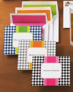 Personalized stationery with houndstooth checks and a splash of vibrant color are a cheerful way to say Thanks! #Horchow #Stationery #monogram #personalized #houndstooth