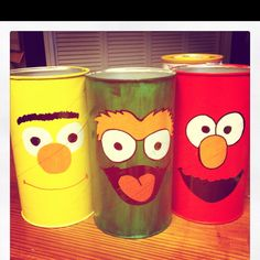 Painted baby formula cans I did for the kids room for colors, pencils etc.