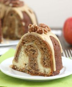 Apple-Cream Cheese Bundt Cake with Caramel Icing ~ Full of fresh chopped apple and cream cheese, the cake is super moist