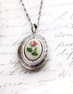 Silver Locket Necklace Red Rose Cameo Pendant by apocketofposies