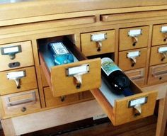 card catalog bar - now where does one find an old card catalog?