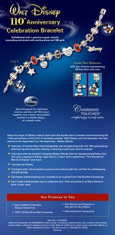 Walt Disney 110th Anniversary Mickey Mouse Charm Bracelet
