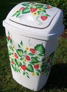 OMG! Strawberry trashcan! Is this hand-painted? I would love to give my boring white trash can some style!