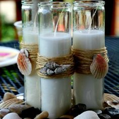 DIY Beach Theme Candles #DIY #wedding #decor #candle #sea #beach