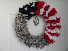 Military Uniform Wreath (Half Flag or Full Uniform) on Etsy, $35.00