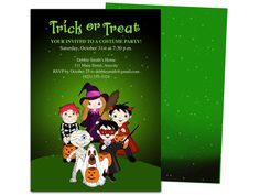 Kids trick or treat halloween party template