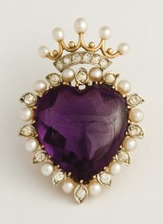 Pearls & Amethyst heart with crown valentine day brooch / pin, love jewelry