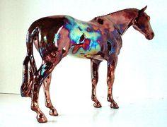 Model Horse Sculpture Raku Porcelain Equine by lakeshorecollection, $170.00