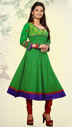 USD 98.99 Pink Cotton Embroidered Designer Kurti 28615