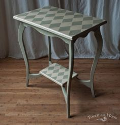 Vintage Shabby Chic/ Harlequin Patterned side/end Table Painted in Annie Sloan