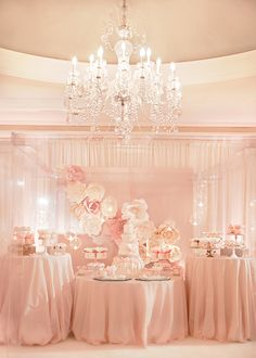 Classy Pink Floral dessert table / Jana Williams Photography