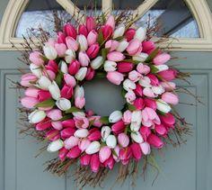 Spring Wreath -Spring Tulip Wreath - Tulip Door Wreath., via Etsy.