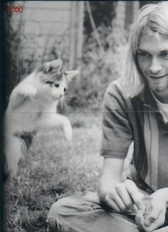 Kurt Cobain with cat