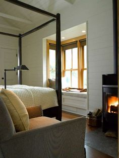 fireplace and window seat