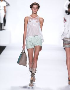 Rebecca Minkoff Look 11: Embroidered Cotton/Silk Cuevas Top in Chalk Laser Cut Leather Tondero Short in Aloe